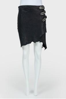 Черная замшевая юбка