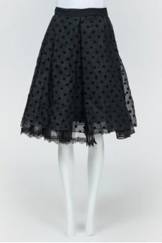 Черная пышная юбка в горох
