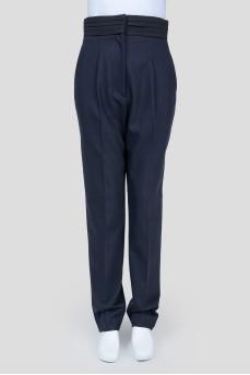 Темно-синие брюки высокой посадки с карманами
