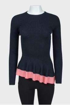 Темно-синий свитер с розовой баской