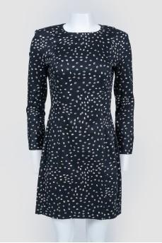 Черное платье в белый горошек на молнии