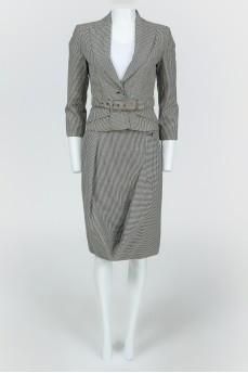 Костюм пиджак + юбка в черно-белую клетку