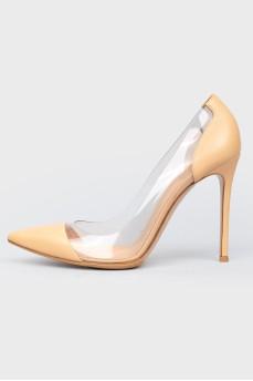 Бежевые кожаные туфли с прозрачной вставкой