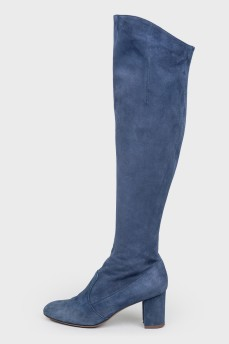 Синие замшевые сапоги на каблуке