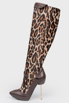 Сапоги в леопардовый принт на металлической шпильке