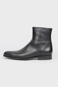 Мужские черные кожаные сапоги