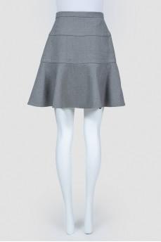 Серая шерстяная юбка с воланом