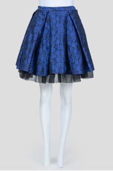 Юбка-колокольчик с синими цветами