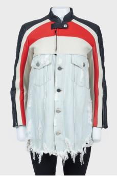 Джинсовая куртка с кожаным верхом